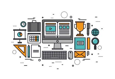 컴퓨터 교육 과정의 얇은 라인 평면 디자인, 가정에서 교육, 온라인 자습서를 사용하여 인터넷 웹 사이트에서 책을 읽고. 흰색 배경에 고립 된 현대 벡