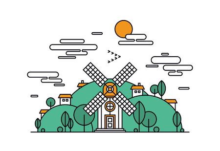 Dünne Linie flache Design von abstrakten schöne Dorf in den grünen Hügeln, ländliche Landschaft mit Wiese Feld, kleines Haus und Windmühle. Moderne Vektor-Illustration Konzept, isoliert auf weißem Hintergrund.