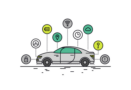 Conception en ligne plat et mince de caractéristiques technologiques de voiture sans conducteur, la capacité du système de véhicule autonome, internet du transport routier des choses. Moderne notion d'illustration de vecteur, isolé sur fond blanc. Vecteurs