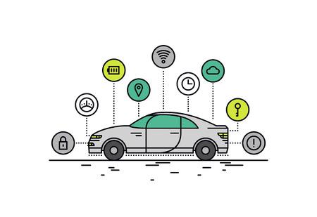 Diseño delgado línea plana de características tecnológicas coche sin conductor, la capacidad del sistema vehículo autónomo, internet de transporte por carretera las cosas. Moderno concepto de ilustración vectorial, aislados en fondo blanco. Ilustración de vector
