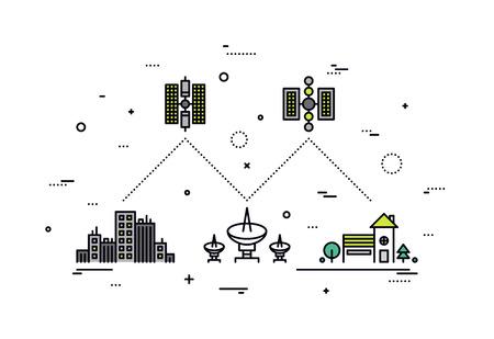 коммуникация: Тонкая линия плоская конструкция системы спутниковой связи, мировой поставщик сетевых услуг, передающей высокоскоростной Интернет и ТВ данных. Современная концепция векторные иллюстрации, изолированных на белом фоне.