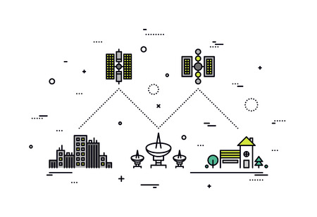 Thin line flat design of satellite communication system, global network service provider, transmitting high speed internet and tv data. Modern vector illustration concept, isolated on white background. Illustration
