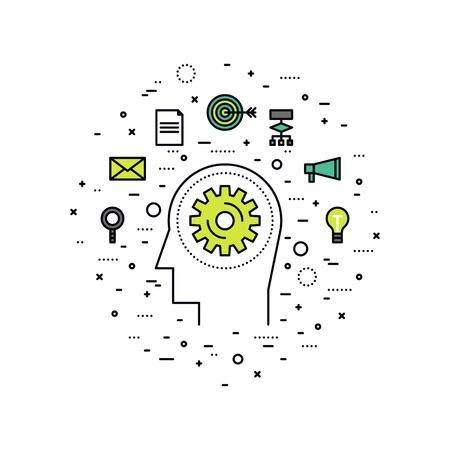 Dunne lijn platte ontwerp van persoonlijke brain training workflow, zelfontplooiing vooruitgang, business werkproces, menselijke strategie oplossing. Moderne vector illustratie concept, geïsoleerd op een witte achtergrond. Stock Illustratie