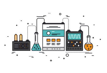 laboratorio: Diseño plano delgada línea de investigación de contenido del sitio web, la tecnología inteligente para el análisis de SEO, página Web de análisis de información, herramientas técnicas. Moderno concepto de ilustración vectorial, aislados en fondo blanco.