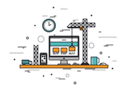 Dünne Linie flache Bauweise der Website im Bau, Web-Seite Bauprozess, Website Formularlayout und Menütasten-Schnittstelle zu entwickeln. Moderne Vektor-Illustration Konzept, isoliert auf weißem Hintergrund.
