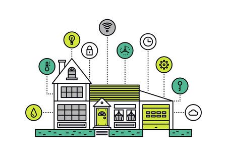 casale: Design sottile linea piatta del sistema intelligente tecnologia di casa con il controllo centralizzato dell'illuminazione, riscaldamento, ventilazione e condizionamento. Moderno concetto di illustrazione vettoriale, isolato su sfondo bianco.