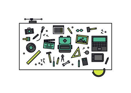 워크샵 교육 책상의 얇은 라인 평면 디자인, 공예 재료와 작업 도구, 취미 연구와 DIY 학습 테이블의 상위 뷰입니다. 흰색 배경에 고립 된 현대 벡터 일