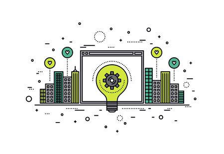 Dunne lijn platte ontwerp van crowdsourcing innovatie web platform voor stedelijke infrastructuur, grote idee realisatie voor uitvinding vooruitgang. Moderne vector illustratie concept, geïsoleerd op een witte achtergrond.