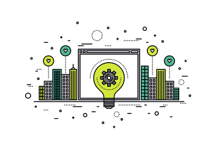 global innovation: Thin line flat design of crowdsourcing innovation web platform for city infrastructure, big idea realization for invention progress. Modern vector illustration concept, isolated on white background. Illustration