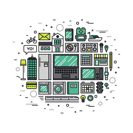Dunne lijn platte ontwerp van internet van de dingen technologie, IOT toekomstige netwerkinfrastructuur van consumentenelektronica en huishoudelijke apparaten. Moderne vector illustratie concept, geïsoleerd op een witte achtergrond.