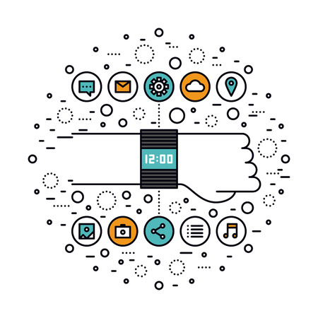 Тонкая линия плоская конструкция SmartWatch технологических инноваций, смарт-часы особенности, носки высоких технологий мультимедийное устройство для повседневного использования. Современная концепция векторные иллюстрации, изолированных на белом фоне. Иллюстрация