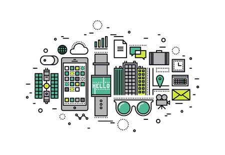 技術: 細線扁平設計的可穿戴技術設備,未來的智能小工具的人來說,物聯網的數字科技創新。現代矢量插圖概念,在白色背景孤立。