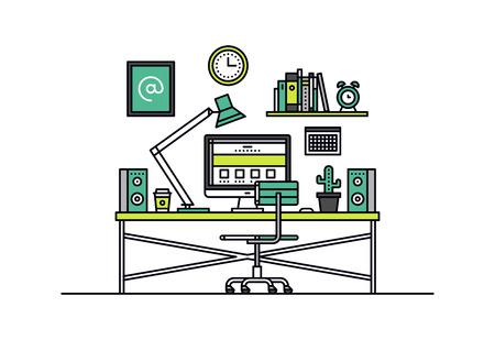 Diseño delgado línea plana de diseñador de páginas web sala de espacio de trabajo interior, escritorio de oficina creativa con la computadora de escritorio, gráfico lugar de trabajo del artista. Moderno concepto de ilustración vectorial, aislados en fondo blanco.