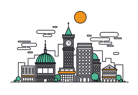 細い線官舎と歴史的なタワー機関主要な商業ビル建築のビジネス街のフラットなデザイン。モダンなベクトル イラストのコンセプトは、白い背景で