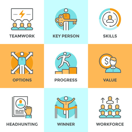 Line icons set with flat design elements of business people teamwork, personal development growth, key person value, headhunting process, team leader skills. Modern vector pictogram collection concept. Vettoriali