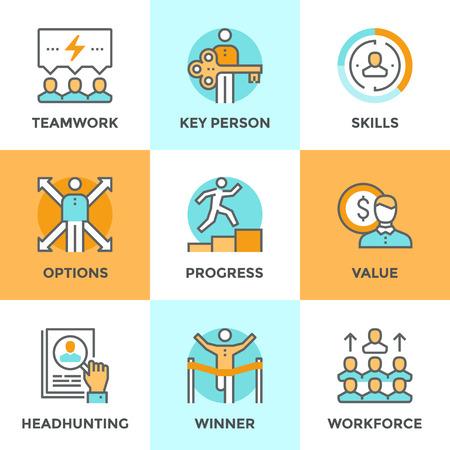 Ikony linii zestaw z płaskich elementów ludzi biznesu pracy zespołowej, rozwoju osobistego, rozwoju osoby, kluczowe wartości, umiejętności procesie Headhunting lider zespołu. Nowoczesne wektor piktogram zbiór koncepcji.