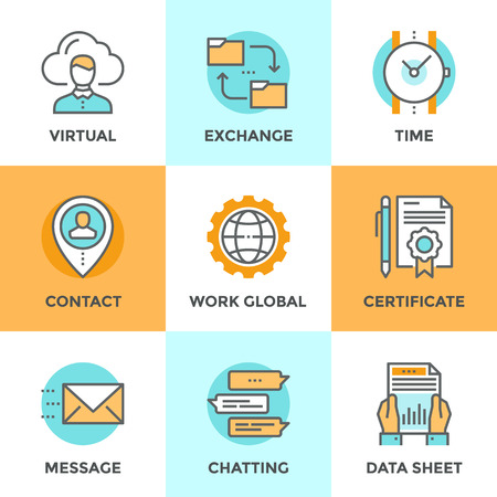 contact information: Line icons set with flat design elements of global business work flow, messaging and online communication, data sheet exchanging, contacting new people. Modern vector pictogram collection concept.