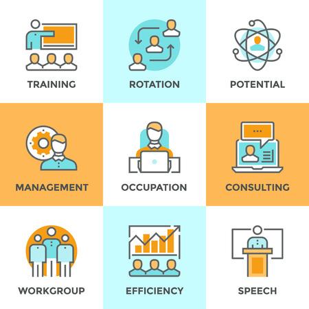 Iconos Línea establecidos con elementos planos de diseño de la gestión empresarial, la formación de personas de negocios, servicio de consultoría profesional en línea, la eficiencia de la habilidad del equipo. Moderno concepto de vector de recogida pictograma. Ilustración de vector