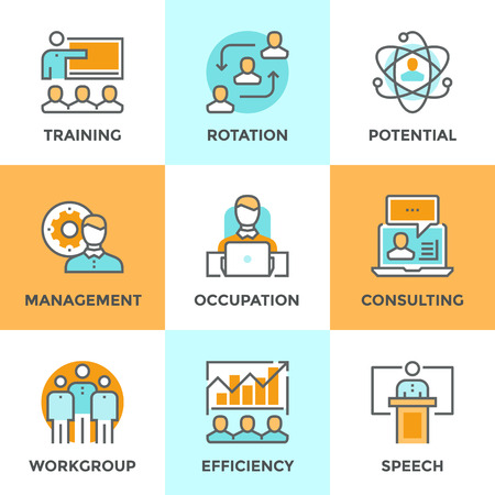 puesto de trabajo: Iconos Línea establecidos con elementos planos de diseño de la gestión empresarial, la formación de personas de negocios, servicio de consultoría profesional en línea, la eficiencia de la habilidad del equipo. Moderno concepto de vector de recogida pictograma.