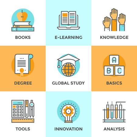 교육: 라인 아이콘 평면 디자인 교육을위한 전자 학습 책의 요소, 전문의 과정, 기본 및 기초 연구, 과학 분석의 혁신을 설정합니다. 현대 벡터 그림 컬렉션 개념.