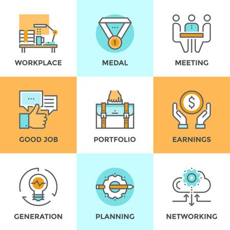 gestion empresarial: Iconos Línea establecidos con elementos planos de diseño de gente de negocios de estilo de vida rutinaria, varias tareas diarias de oficina, planificación de trabajo del encargado y la actividad laboral de los empleados. Moderno concepto de vector de recogida pictograma.