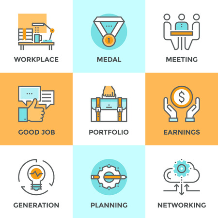 work task: Line icons set with flat design elements of business people lifestyle routine, various office daily task, manager job planning and employee work activity. Modern vector pictogram collection concept. Illustration