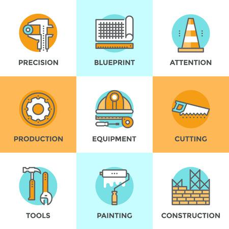 Iconos Line establecen con elementos planos de diseño de equipos de ingeniería de la construcción, la construcción de la estructura de la arquitectura, las herramientas de trabajo para la reparación y renovación. Moderno concepto de vector de recogida pictograma.