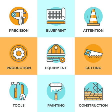 machinery: Line icons set with flat design elements of engineering construction equipment, building architecture structure, working tools for repair and renovation. Modern vector pictogram collection concept. Illustration