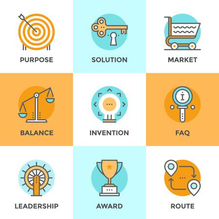 balanza de justicia: Iconos Line establecen con elementos de diseño planas de diversos negocios símbolo, metáfora comercialización, claves para el éxito solución, vía ruta de destino, información de preguntas frecuentes. Moderno concepto de vector de recogida pictograma.
