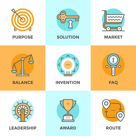 competitions: Line icons set with flat design elements of various business symbol, marketing metaphor, key to success solution, route destination pathway, FAQ information. Modern vector pictogram collection concept.