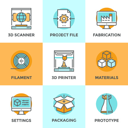 imprenta: Línea iconos establecidos con elementos planos de diseño de objetos de tecnología de impresión en 3D, modelado y escaneo para construir nuevos modelos, filamentos y materiales para la elaboración. Moderno concepto de vector de recogida pictograma.