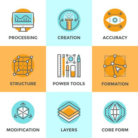 process: Línea iconos establecidos con elementos de diseño planas de herramientas gráficas digitales, la formación de 3D de la estructura única, proceso de modificación de la forma y el desarrollo del núcleo idea. Moderno concepto de vector de recogida pictograma. Vectores