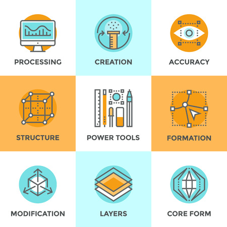 development process: Line icons set with flat design elements of digital graphic tools, 3D formation of unique structure, shape modification process and core idea development. Modern vector pictogram collection concept.
