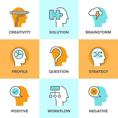 mente humana: Línea iconos establecidos con elemento plano de diseño de las emociones positivas y negativas humanos, el cerebro creatividad flujo de trabajo, la solución de rompecabezas, poder de la mente y la estrategia. Moderno concepto de vector de recogida pictograma.