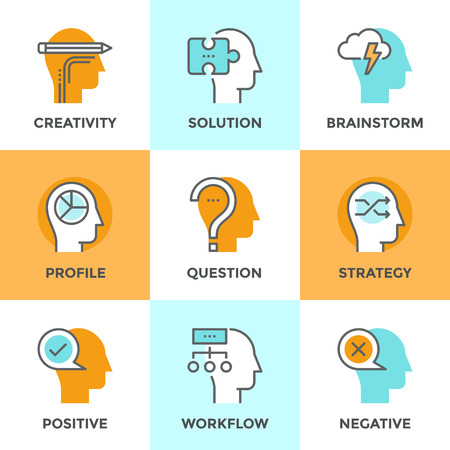 brain: Line icons set with flat design element of human positive and negative emotions, brain creativity workflow, jigsaw puzzle solution, mind power and strategy. Modern vector pictogram collection concept. Illustration