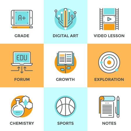 crecimiento: Iconos línea SET con elementos de diseño planas de crecimiento habilidad con la lectura del libro, aprender información en la lección de vídeo, A + grado en la tableta digital, notebook texto. Moderno concepto de vector de recogida pictograma.