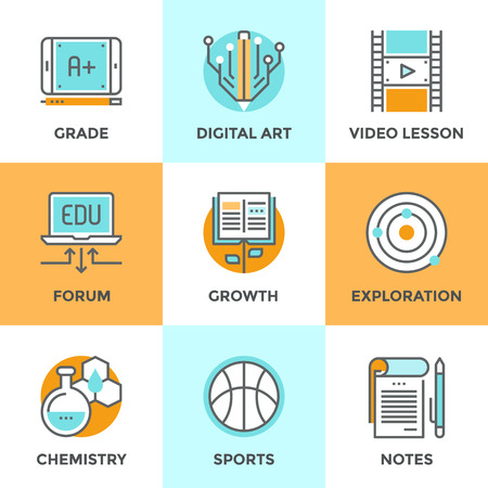 studies: Line icons set with flat design elements of skill growth with reading book, learning information in video lesson, A+ grade on digital tablet, text notebook. Modern vector pictogram collection concept. Illustration