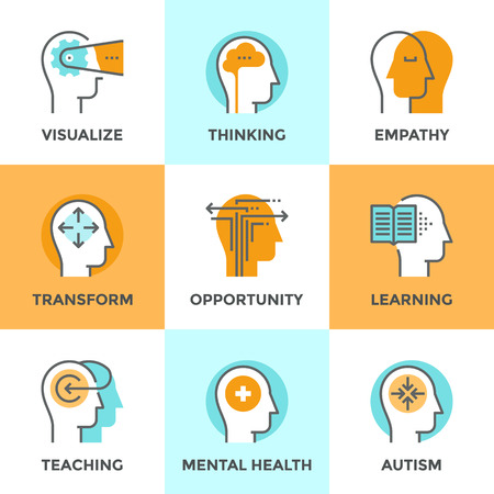 건강: 인간의 마음 프로세스의 평면 디자인 요소, 사람의 뇌 생각, 정신 건강 및 자폐증 문제, 기회와 정신 변환 설정 라인 아이콘. 현대 벡터 그림 컬렉션 개념.