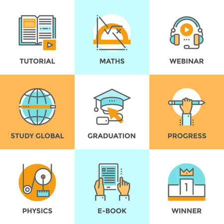 achievement concept: Line icons set with flat design elements of education progress, global study, e-book learning, webinar audio course, winner pedestal, physics and math learn. Modern vector pictogram collection concept.