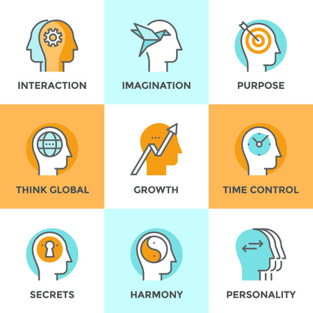 mind: Line icons set with flat design elements of people teamwork relations, brain thinking process, human target purpose, personality change and mind balance. Modern vector pictogram collection concept.