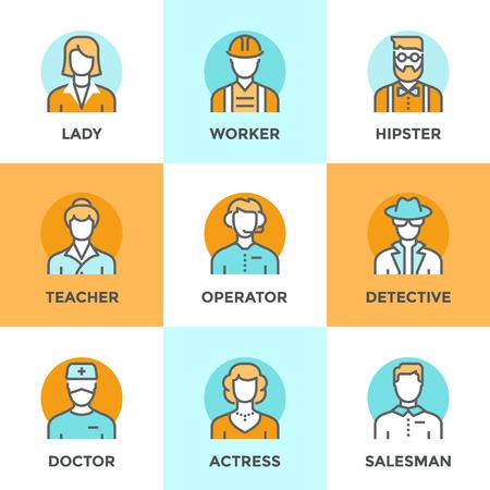 personaje: Iconos Línea establecidos con elementos de diseño planas de diversos profesión empresarios, ocupación humana profesional, caracteres básicos carrera, avatares con estilo. Moderno concepto de vector de recogida pictograma. Vectores