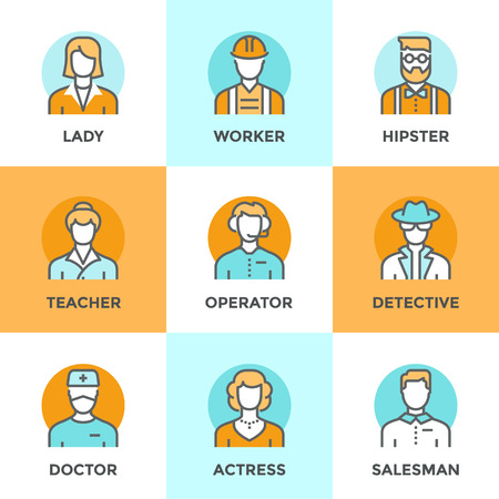 specialists: Line icons set with flat design elements of various business people profession, professional human occupation, basic characters career, stylish avatars. Modern vector pictogram collection concept. Illustration
