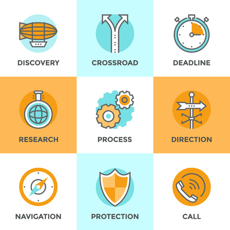 horizon: Line icons set with flat design elements of various business metaphor, cogwheel gear process, navigation compass, call answer, discovery new horizon and etc. Modern vector pictogram collection concept. Illustration