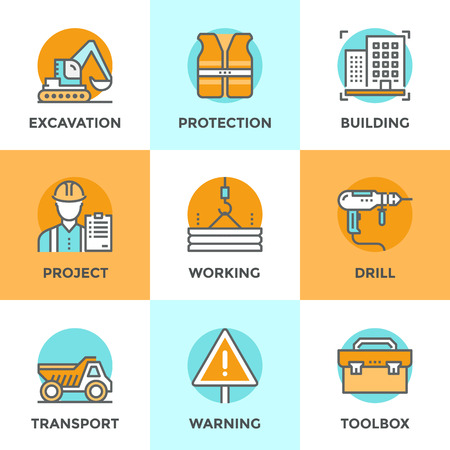 construction machines: Line icons set with flat design elements of construction site, crane working, building home architecture, worker toolbox, builder with production plan. Modern vector pictogram collection concept.