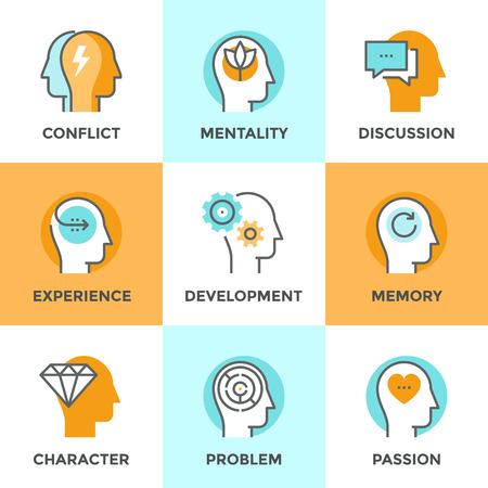 mente humana: Línea iconos establecidos con elemento plano de diseño de socio en conflicto, confusión mente humana, la experiencia de carácter, la gente en el amor y la pasión, pensaron purificación. Moderno concepto de vector de recogida pictograma.