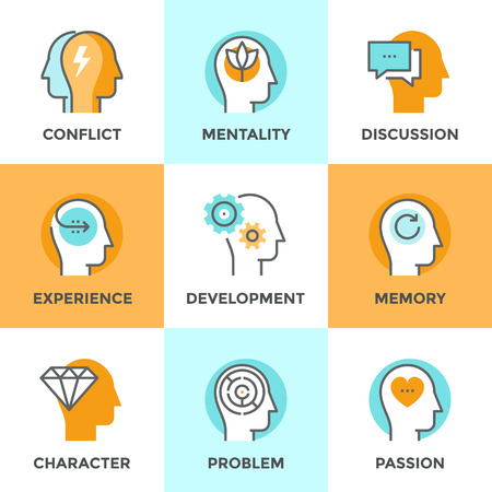 mind set: Line icons set with flat design element of partner in conflict, human mind confusion, character experience, people in love and passion, thought purification. Modern vector pictogram collection concept.