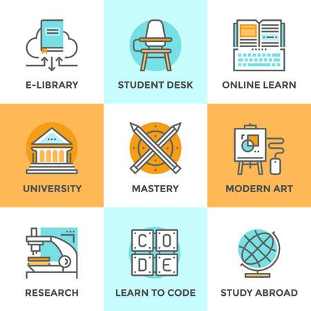 eğitim: Öğrenme beceri, eğitim ustalığı, üniversite binasının düz tasarım unsurları ile belirlenen hat simgeler, kod, öğrenci masası ile sınıfta, yurtdışında çalışmaya öğrenirler. Modern vektör piktogram toplama kavramı. Çizim