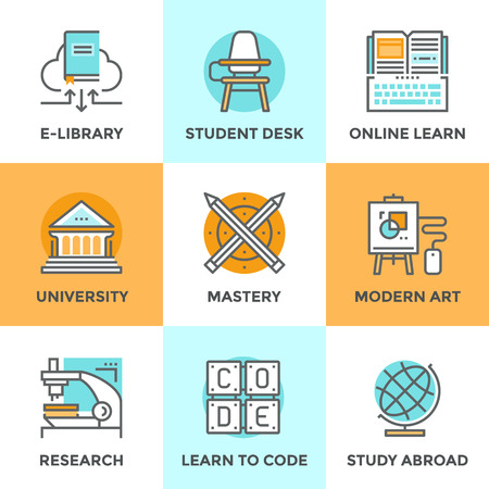 estudiar: Línea iconos establecidos con elementos de diseño planas de habilidad de aprendizaje, dominio educación, edificio de la universidad, aprender a código, aula con escritorio estudiante, estudiar en el extranjero. Moderno concepto de vector de recogida pictograma. Vectores