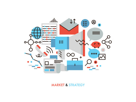 Thin line flat design of market strategy analysis, online marketing research, global business promotion, information data management. Modern vector illustration concept, isolated on white background.