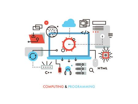 Dünne Linie flache Bauweise des Cloud-Computing-Technologie, drahtlose Kommunikation, Website-Programmcode, Hosting-Service für Entwickler. Moderne Vektor-Illustration Konzept, isoliert auf weißem Hintergrund.